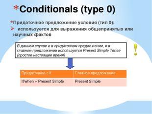 Conditionals (type 0) Придаточное предложение условия (тип 0): используется д