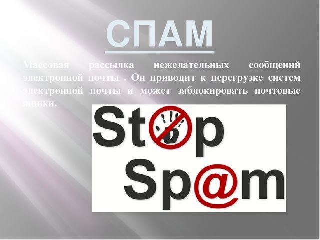 СПАМ Массовая рассылка нежелательных сообщений электронной почты . Он приводи...