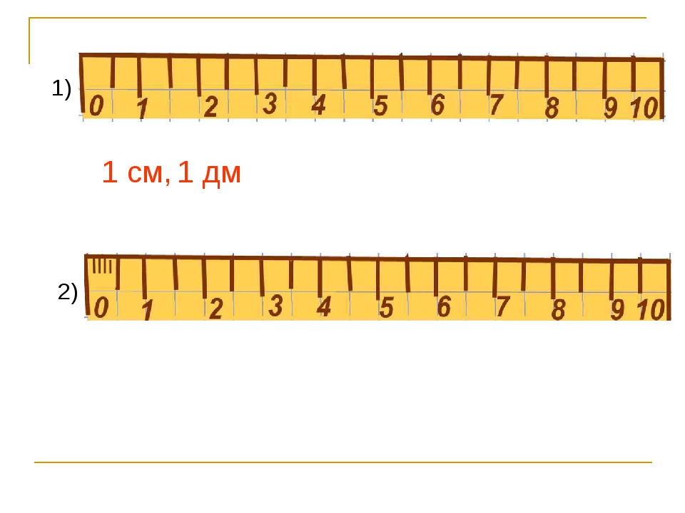 1) 1 см, 2) 1 дм