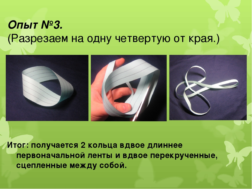 Опыт №3. (Разрезаем на одну четвертую от края.) Итог: получается 2 кольца вдв...