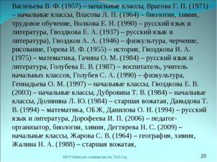 Васильева В. Ф. (1957) – начальные классы, Врагова Г. П. (1971) – начальные