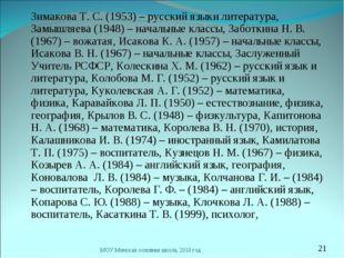 Зимакова Т. С. (1953) – русский языки литература, Замышляева (1948) – началь