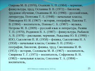 Озерова М. В. (1970), Охапкин А. П. (1984) – черчение, физкультура, труд, Ос