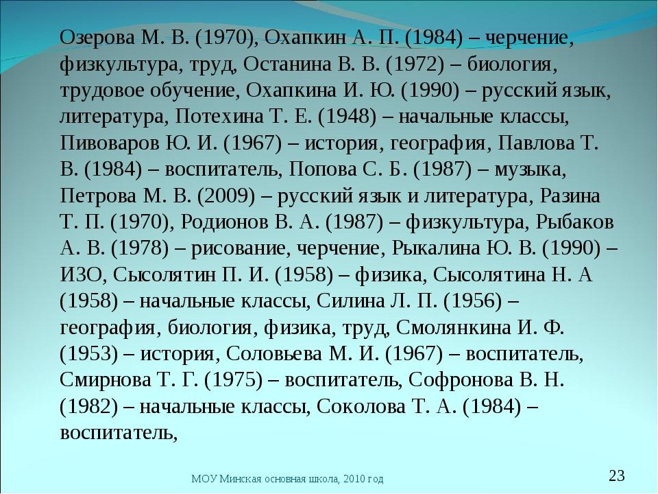 Озерова М. В. (1970), Охапкин А. П. (1984) – черчение, физкультура, труд, Ос...