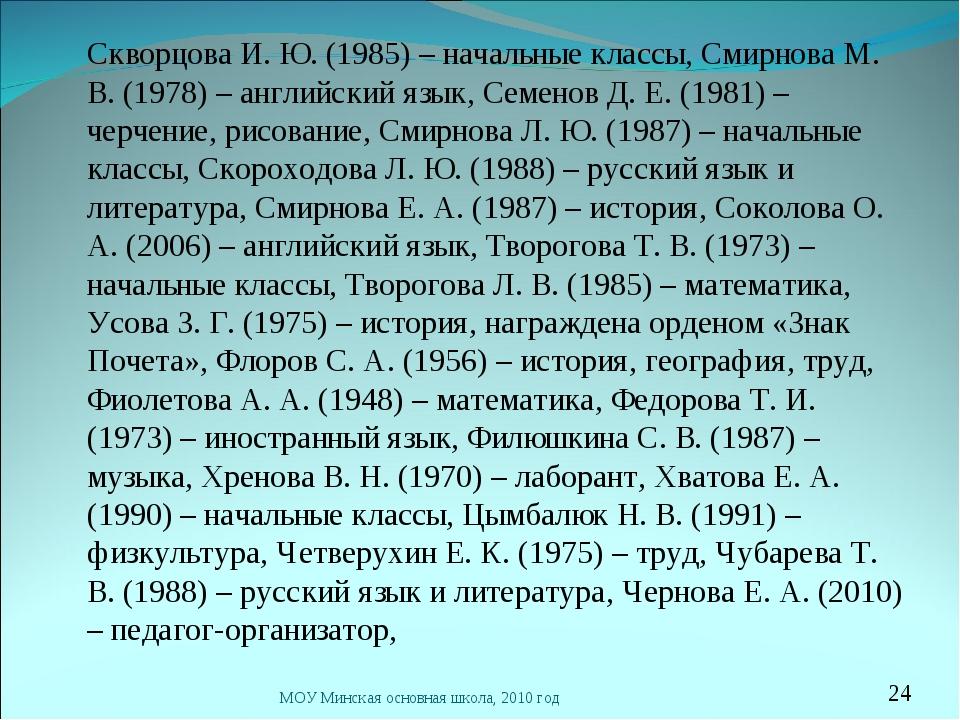 Скворцова И. Ю. (1985) – начальные классы, Смирнова М. В. (1978) – английски...
