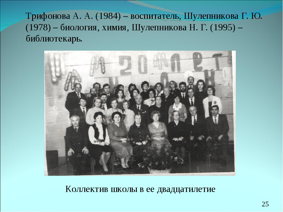 Трифонова А. А. (1984) – воспитатель, Шулепникова Г. Ю. (1978) – биология, х...