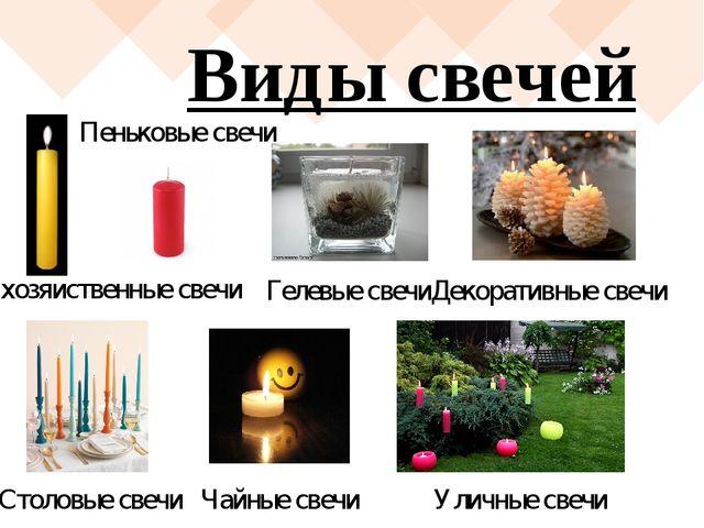 Виды свечей хозяйственные свечи Уличные свечи Чайные свечи Столовые свечи Пен...