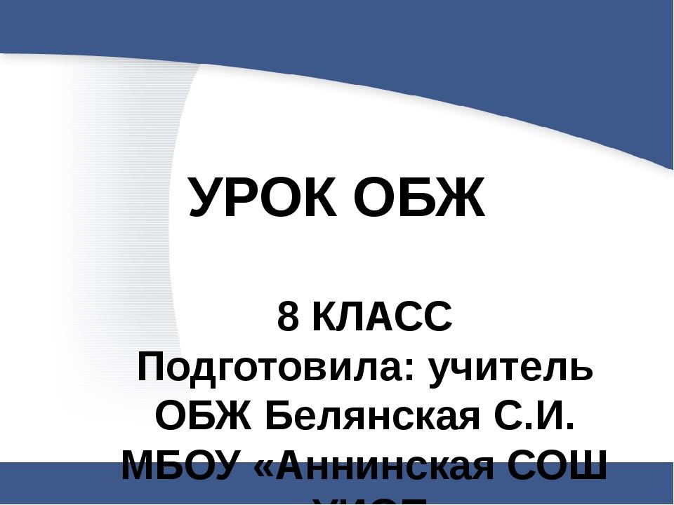 УРОК ОБЖ 8 КЛАСС Подготовила: учитель ОБЖ Белянская С.И. МБОУ «Аннинская СОШ...
