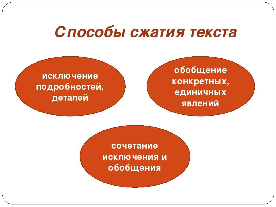 Способы сжатия текста исключение подробностей, деталей обобщение конкретных,...