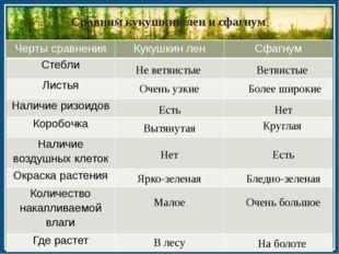 Сравним кукушкин лен и сфагнум Не ветвистые Ветвистые Очень узкие Более широ