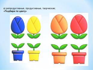 в) репродуктивные, продуктивные, творческие; «Подбери по цвету»