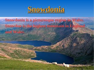 Snowdonia Snowdonia is a picturesque region in Wales. Snowdon is the highest
