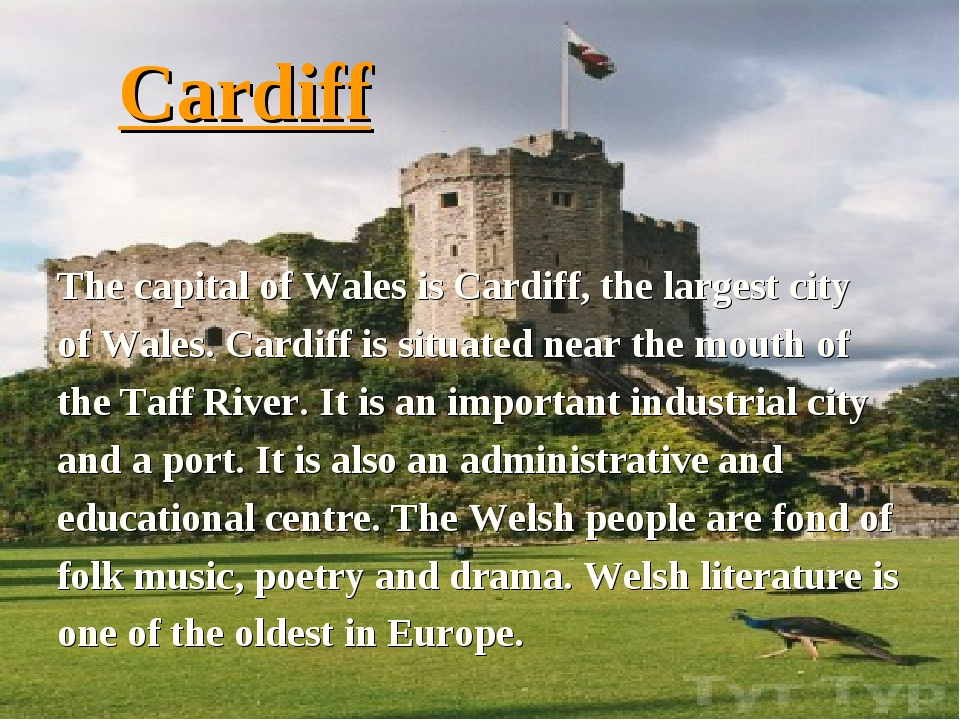 Cardiff The capital of Wales is Cardiff, the largest city of Wales. Cardiff i...
