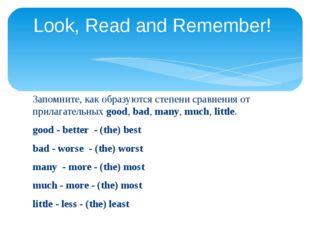 Запомните, как образуются степени сравнения от прилагательных good, bad, many