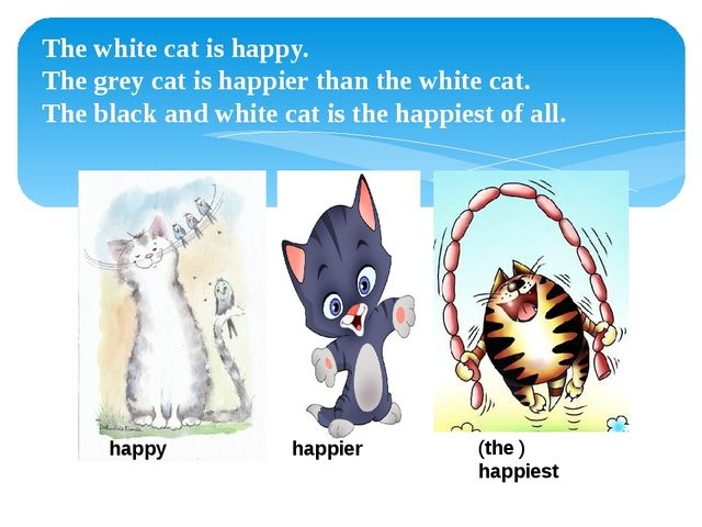 The white cat is happy. The grey cat is happier than the white cat. The black...