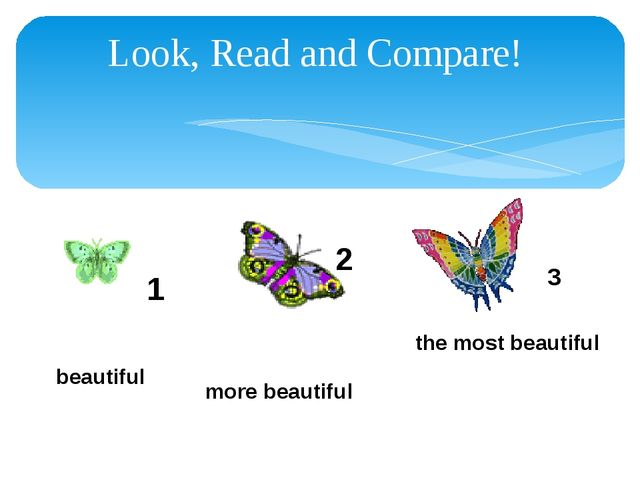 Look, Read and Compare! 1 2 3 beautiful more beautiful the most beautiful