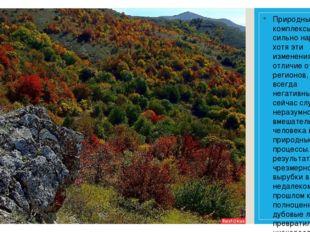 Природные комплексы Крыма сильно нарушены, хотя эти изменения, в отличие от д