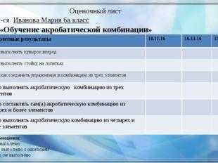 Оценочный лист Тема: «Обучение акробатической комбинации» Ф.и. уч-ся Иванова