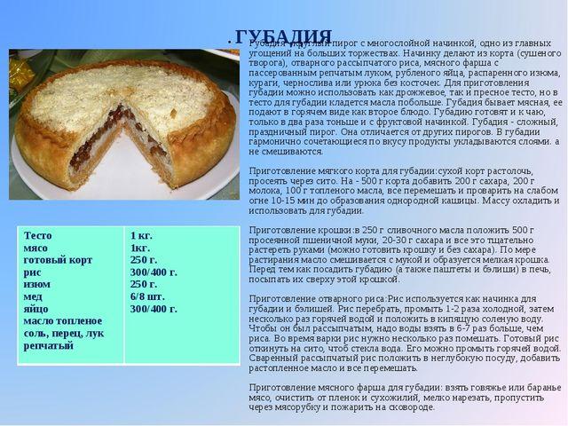 ГУБАДИЯ Губадия - круглый пирог с многослойной начинкой, одно из главных угощ...