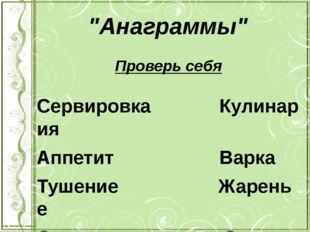 """""""Анаграммы"""" Проверь себя СервировкаКулинария Аппетит"""