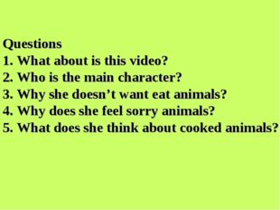 Questions 1. What about is this video? 2. Who is the main character? 3. Why s