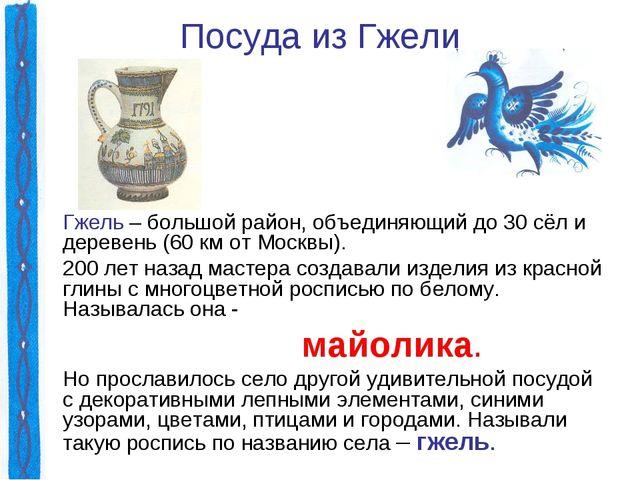 Посуда из Гжели Гжель – большой район, объединяющий до 30 сёл и деревень (60...