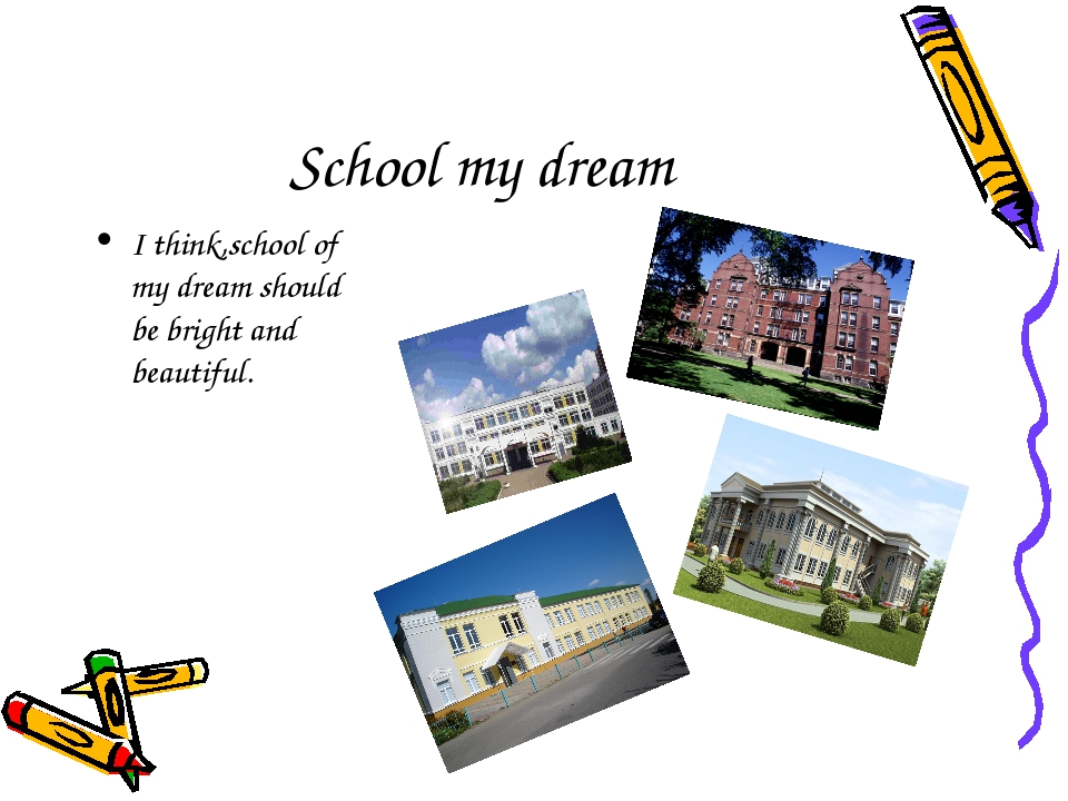 School my dream I think,school of my dream should be bright and beautiful.