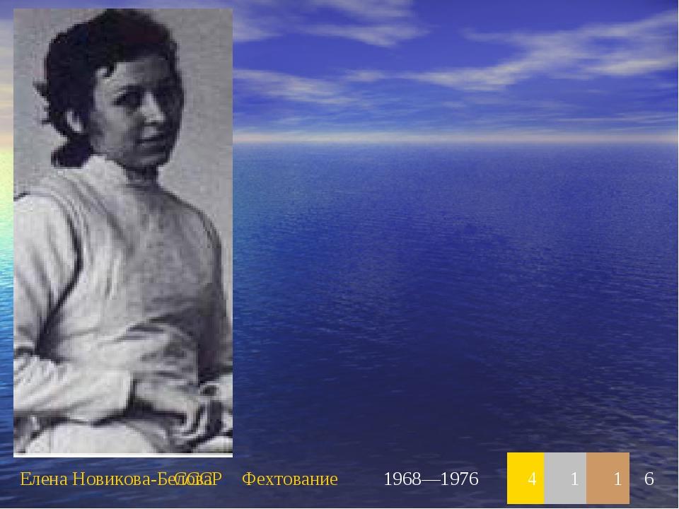 Елена Новикова-БеловаСССРФехтование1968—19764116