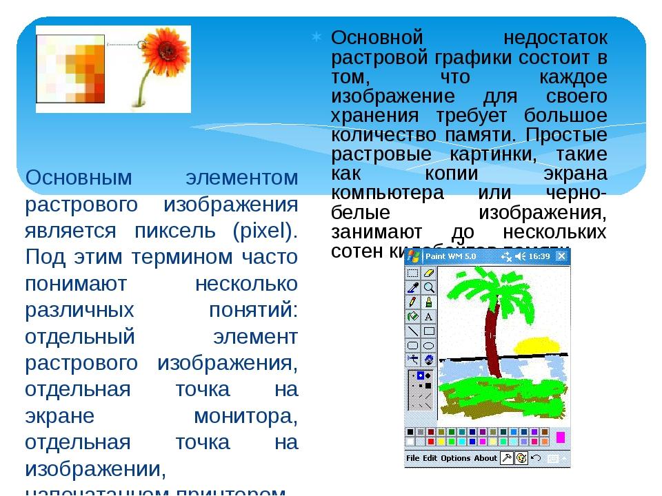 Основным элементом растрового изображения является пиксель (pixel). Под этим...