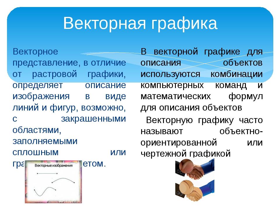 Векторное представление, в отличие от растровой графики, определяет описание...