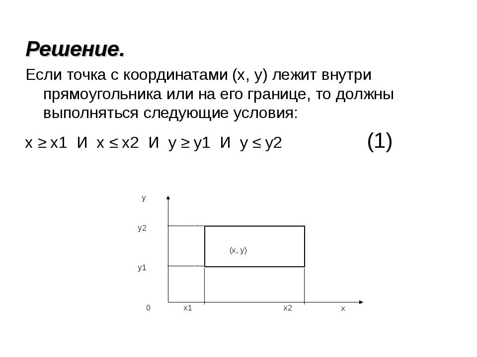 Решение. Если точка с координатами (х, у) лежит внутри прямоугольника или на...