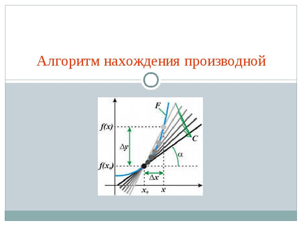 Алгоритм нахождения производной