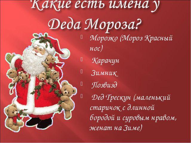 Морозко (Мороз Красный нос) Карачун Зимник Позвизд Дед Трескун (маленький ста...