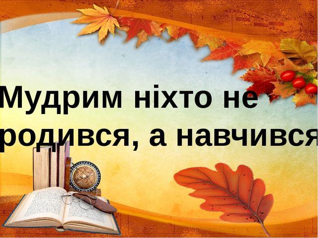 Мудрим ніхто не родився, а навчився.