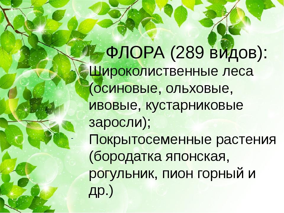 ФЛОРА (289 видов): Широколиственные леса (осиновые, ольховые, ивовые, кустар...