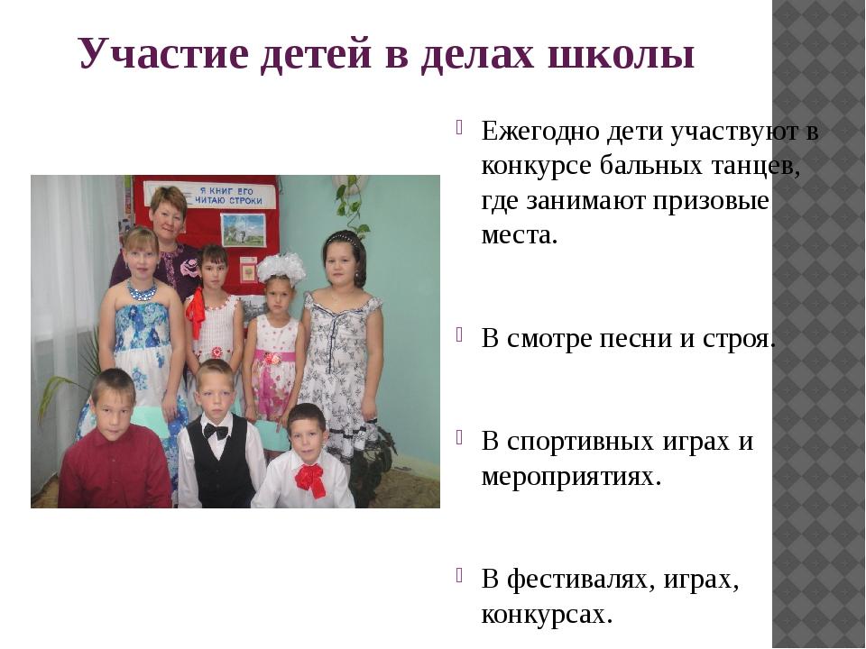 Участие детей в делах школы Ежегодно дети участвуют в конкурсе бальных танцев...