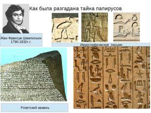 Как была разгадана тайна папирусов Жан Франсуа Шампольон 1790-1832г.г. Розетс