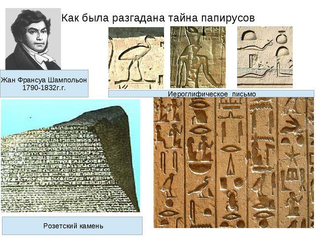 Как была разгадана тайна папирусов Жан Франсуа Шампольон 1790-1832г.г. Розетс...