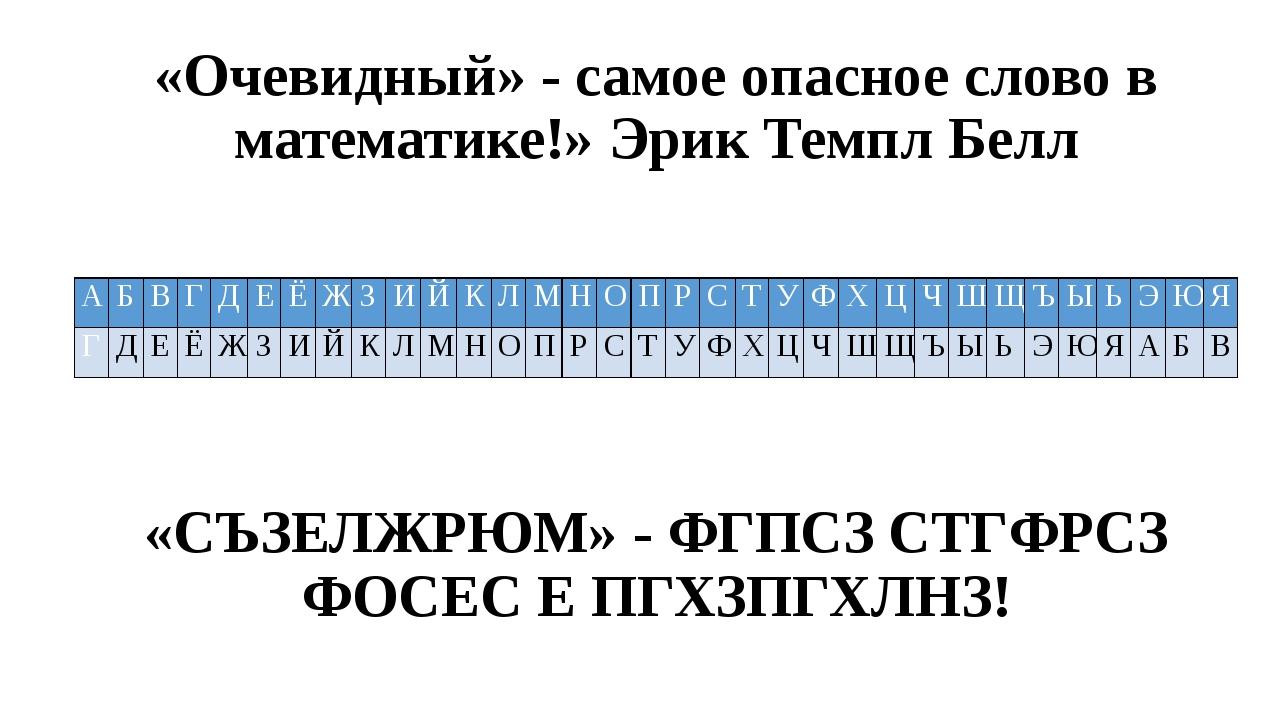 «Очевидный» - самое опасное слово в математике!» Эрик Темпл Белл «СЪЗЕЛЖРЮМ»...