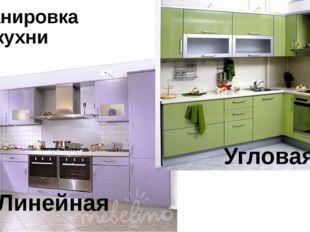 Планировка кухни Линейная Угловая