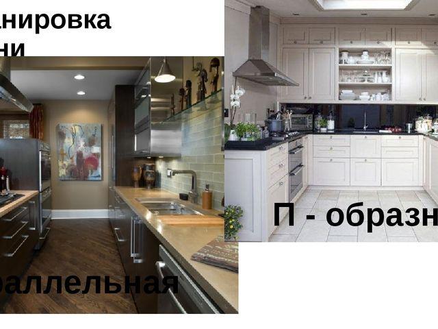 Планировка кухни Параллельная П - образная