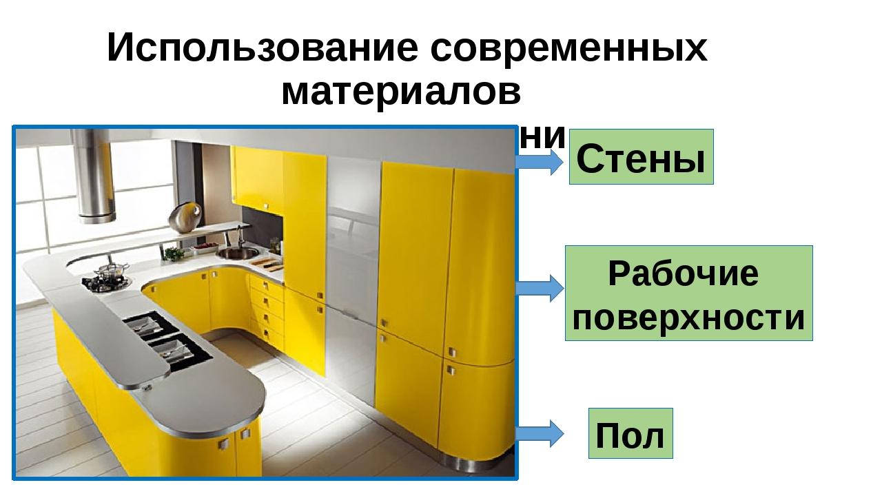 Использование современных материалов в отделке кухни Рабочие поверхности Пол...