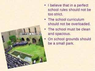 I believe that in a perfect school rules should not be too strict. The school