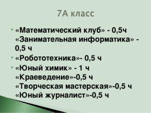 «Математический клуб» - 0,5ч «Занимательная информатика» - 0,5 ч «Робототехни