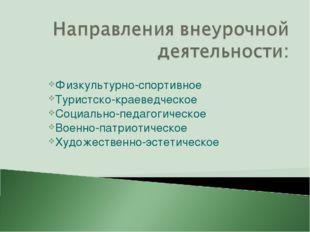 Физкультурно-спортивное Туристско-краеведческое Социально-педагогическое Воен