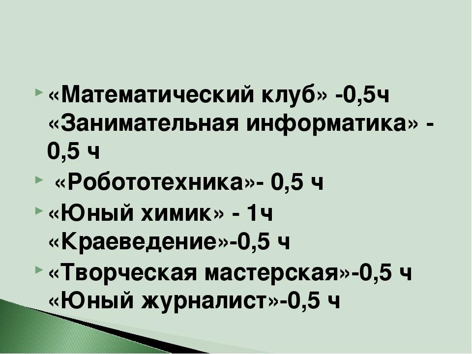 «Математический клуб» -0,5ч «Занимательная информатика» - 0,5 ч «Робототехник...