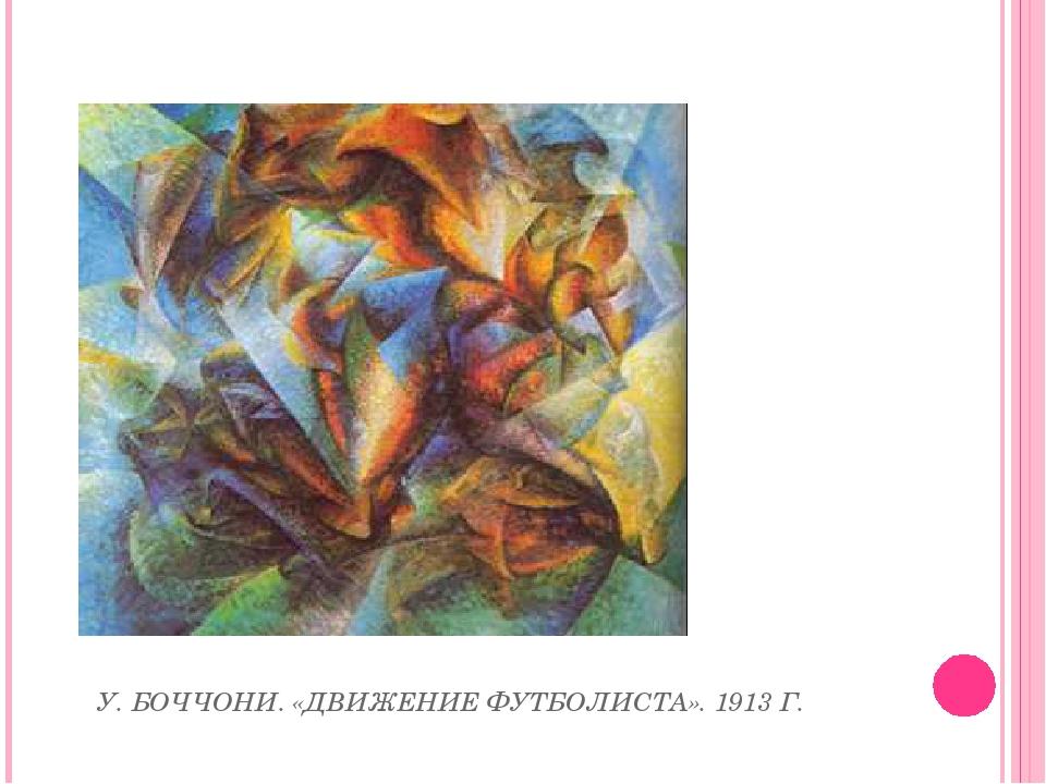 У. БОЧЧОНИ. «ДВИЖЕНИЕ ФУТБОЛИСТА». 1913 Г.