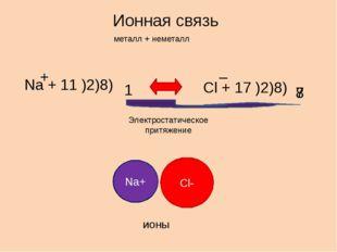 Ионная связь металл + неметалл Na + 11 )2)8) 1 Cl + 17 )2)8) 7 8 + – Электрос