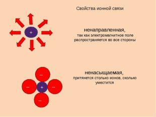 Свойства ионной связи ненаправленная, так как электромагнитное поле распростр