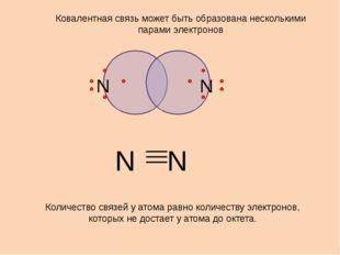 N N Ковалентная связь может быть образована несколькими парами электронов Ко